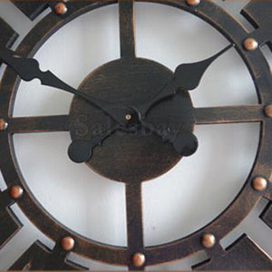 60cm Large Round Wall Clock Vintage Wooden luxury Art Design Vintage