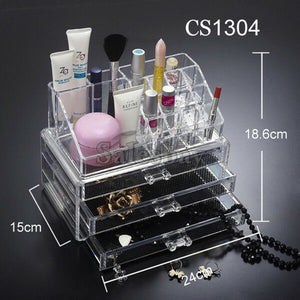 Acrylic Cosmetic Organizer Drawers Clear Jewellery Box Makeup Storage