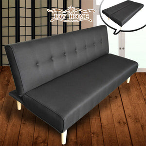 3 Seater Sofa Bed Lounge Linen Fabric PU Leather Futon Couch