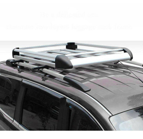 140*100 Silver Double Aluminium Alloy SUV 4x4 Roof Rack Basket Cargo Luggage Carrier Box