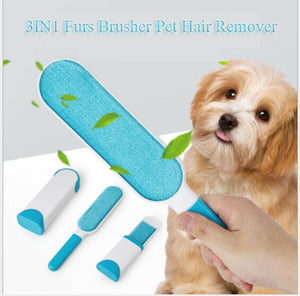 3IN1 Furs Brusher Pet Hair Remover Wizard Lint Brush Self-cleaning Base Travel