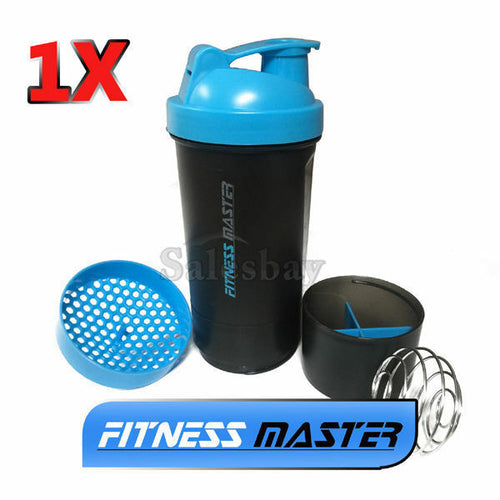 1X 3in1 GYM Protein Supplement Drink Blender Mixer Shaker Shake Ball Bottle Cup