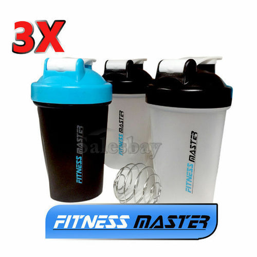 3X GYM Protein Supplement Drink Blender Mixer Shaker Shake Ball Bottle 500ml