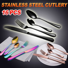 Load image into Gallery viewer, Cutlery Set 16-60 Piece Stainless Steel Black Rose Gold Rainbow Knife Fork Spoon