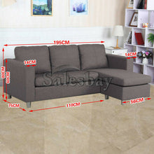 Load image into Gallery viewer, Three Seater Linen Fabric Corner Futon Sofa Chaise Couch Lounge Suit Set