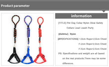 Load image into Gallery viewer, Pet Dog Collar Nylon Glow Safety Collars Lead Leash Party S M L Training Halter