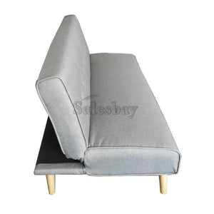 1.8M Linen Fabric 3 Seater Sofa Bed Couch Lounge Futon Recliner Wooden Legs