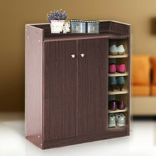 Load image into Gallery viewer, Wooden Shoe Cabinet Storage Wood Rack 21 Pairs Shoes Maple/Walnut/White/Brown
