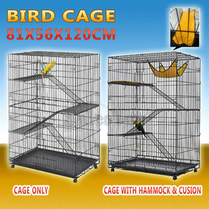 4 Level Bird Cage Ferret Pet Cat Hamster Rat Budgie Stainless Castor Wheel