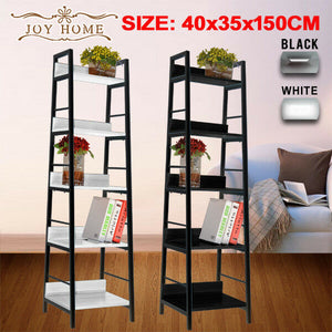 5 Level  Storage Bookshelf Shelves  Stand Rack Unit Tier Wood Steel 40cm Shelf