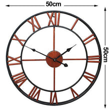 Load image into Gallery viewer, 50cm Round Wall Clock Metal Industrial French Provincial Antique Iron Vintage