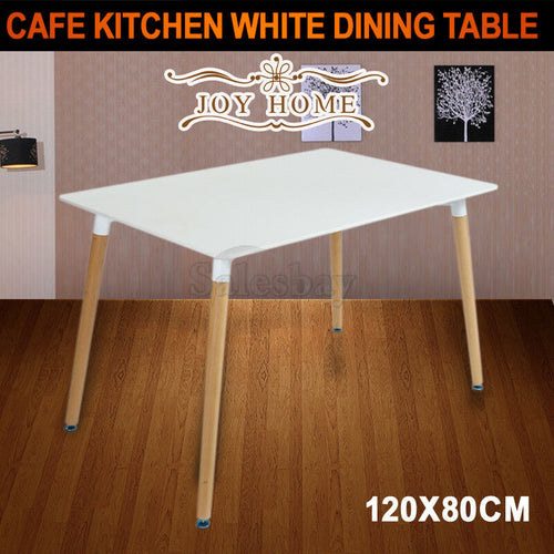 JOYHOME 120x80CM Replica Cafe Dining Table Kitchen DSW Eiffel Chairs White
