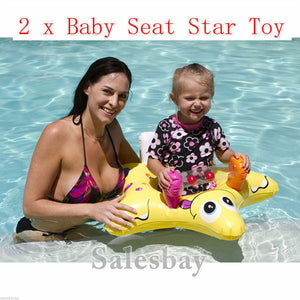 2 x Airtime Inflatable Inflate Pool Toy Baby Seat Star Design 78cm x 75cm x29cm