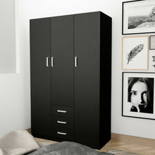 Load image into Gallery viewer, 3 Doors 3 Drawers 4 Shelf Wardrobe Cabinet Unit Bedroom Clothes Storage Organizer