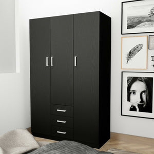 3 Doors 3 Drawers 4 Shelf Wardrobe Cabinet Unit Bedroom Clothes Storage Organizer