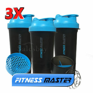 3X 3in1 GYM Protein Supplement Drink Blender Mixer Shaker Shake Ball Bottle Cup