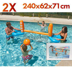 2xAirtime Inflate Inflatable 240x62x71cm Pool Toy Water Volley Ball Net Ball