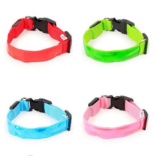 Load image into Gallery viewer, LED Dog Collar Nylon Glow Flashing Light Up Safety Pet Collars Party