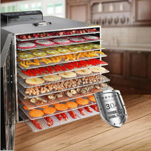 10 Trays Stainless Steel Dehydrator Meat Vegetable Fruit Commercial Dryer Maker