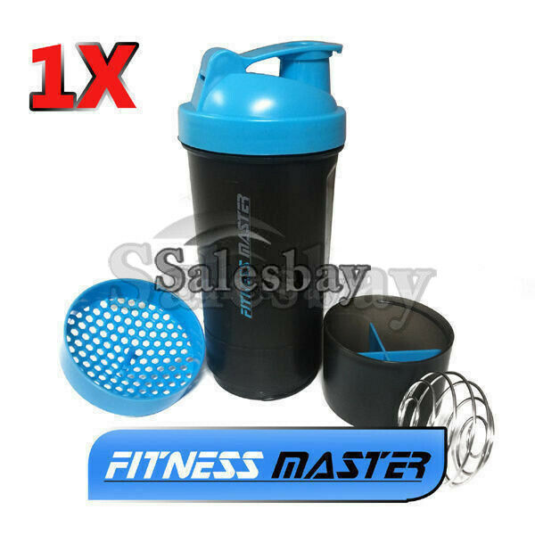 Multi 3in1 GYM Protein Supplement Drink Blender Mixer Shake Shaker Ball Bottle