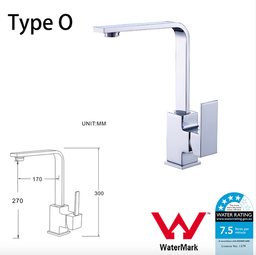 WELS Kitchen Bathroom Laundry Shower Water Basin Mixer Tap Vanity Sink Faucet -Type O