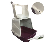 Load image into Gallery viewer, Front Open Portable Hooded Cat Toilet Litter Box Tray House With Handle & Scoop