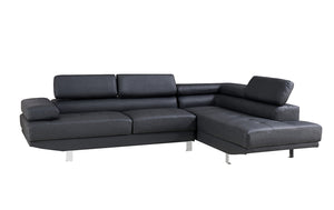2.8m Modern Dark Grey Right Corner PU Leather Sectional Sofa Chaise Lounge Suite Couch Furniture