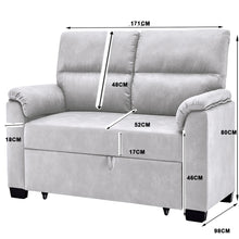 Load image into Gallery viewer, Grey 2 Seater Sofa Bed Fabric Lounge Futon Couch Modular Furniture Home 171cm