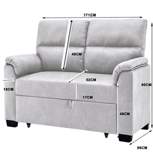 Grey 2 Seater Sofa Bed Fabric Lounge Futon Couch Modular Furniture Home 171cm