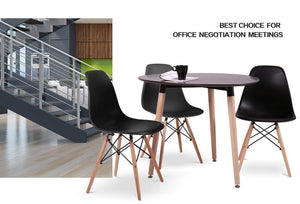 6x Replica Retro Dining Chairs Cafe Kitchen Beech (Black Colour)