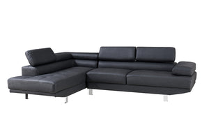 2.8m Modern Black Left Corner Fabric Sectional Sofa Chaise Lounge Suite Couch Furniture