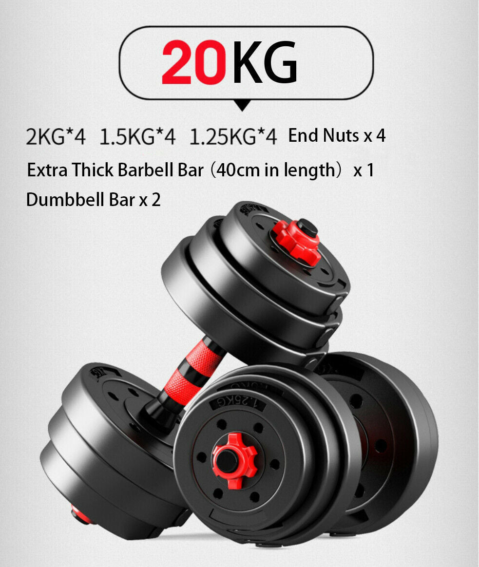 20kg Adjustable Dumbbell Set Barbell Home GYM Exercise Weights Fitness Workout