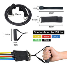 Load image into Gallery viewer, Heavy Duty Latex 11PCS Resistance Band Tube Power Gym Yoga Training Fitness