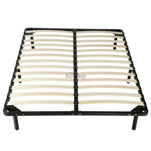 Timber Slat Bed Frame w Metal Bed Base Support w legs Single/Double/Queen/King