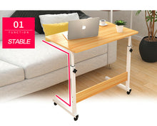Load image into Gallery viewer, Laptop Table Stand Mobile Wooden Adjustable Height Desk Study Computer Bedside
