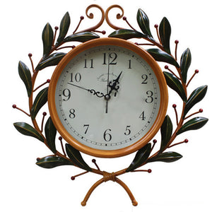 41cm Round Wall Clock Metal Industrial Iron Vintage French Provincial Antique