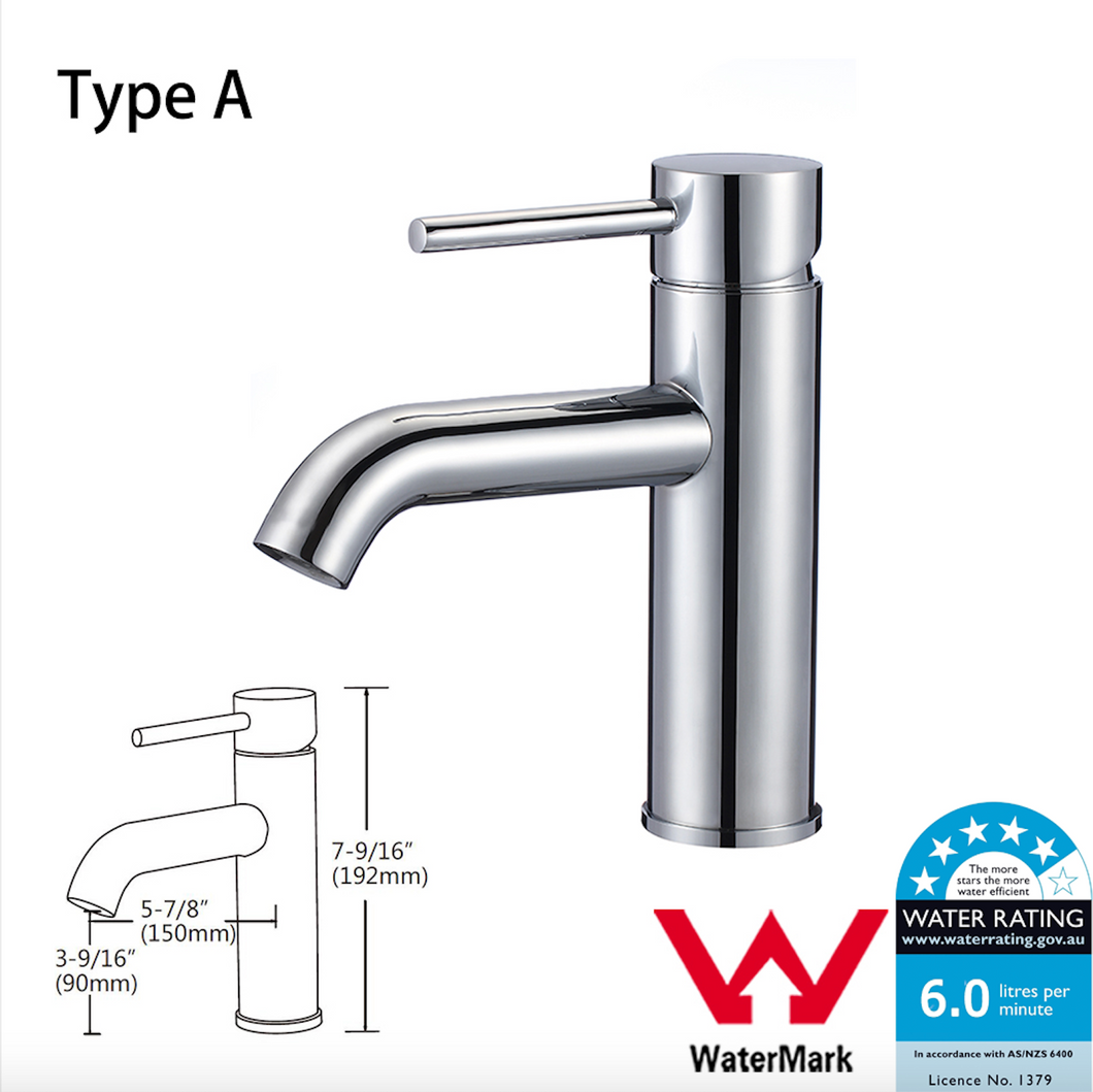 Kitchen Bathroom Laundry Shower Water Basin Mixer Tap Vanity Sink Faucet WELS-Type A