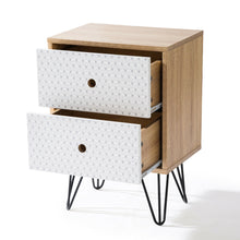 Load image into Gallery viewer, Bedside Table Prism Design 2 Drawers with Legs Tables Nightstand Unit Cabinet Storage Lamp Side Table (Maple)
