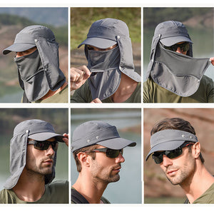 Mens Neck Flap Hat Wide Brim Cap Face Unisex Hiking Fishing UV Sun Protection Dark Grey