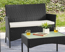 Load image into Gallery viewer, 4pc Lounge Set Outdoor Furniture Rattan Wicker Chair Table Garden Patio Balcony