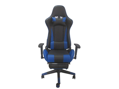 Blue Color High Back Executive Gaming Chair w Footrest Office Computer Seating Racer Recliner Chairs