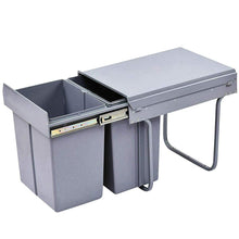 Load image into Gallery viewer, Pull Out Bin 40L Twin Cabinet Kitchen Waste Dual Slide Out Garbage Rubbish Trash Grey