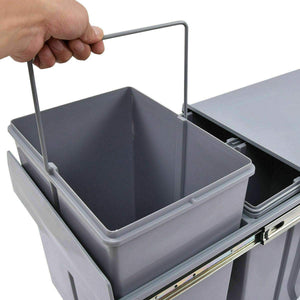 Pull Out Bin 40L Twin Cabinet Kitchen Waste Dual Slide Out Garbage Rubbish Trash Grey