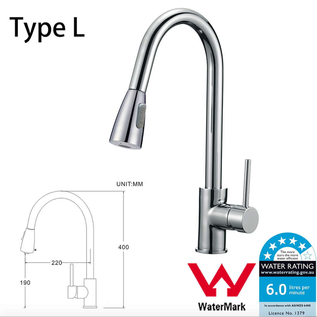 WELS Kitchen Bathroom Laundry Shower Water Basin Mixer Tap Vanity Sink Faucet -Type L