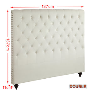 Double Size Cream Color Fabric Bed Head Upholstered Headboard Bedhead Frame