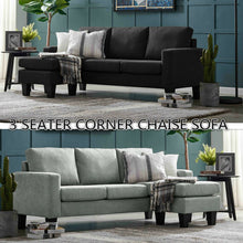 Load image into Gallery viewer, Three Seater Linen Fabric Corner Sofa Chaise Couch Lounge Suit Set with Ottoman