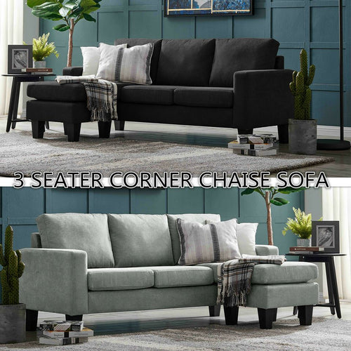 Three Seater Linen Fabric Corner Futon Sofa Chaise Couch Lounge Suit Set Ottoman