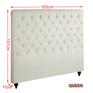 Queen Size Cream Color Fabric Bed Head Upholstered Headboard Bedhead Frame