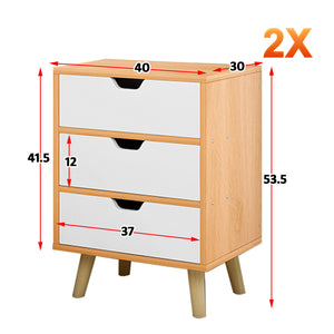Bedside Table 3 Drawers with Legs Tables Nightstand Unit Cabinet Storage Lamp Side Table (Maple)