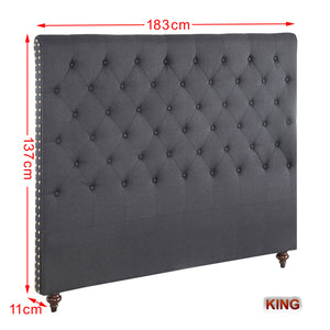 King Size Black Color Fabric Bed Head Upholstered Headboard Bedhead Frame